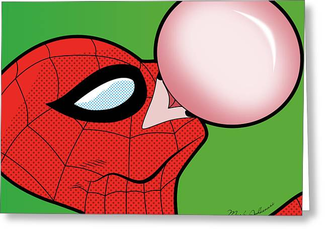 Funny Pop Culture Greeting Cards - Spiderman  Greeting Card by Mark Ashkenazi