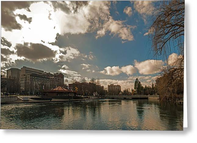 Spokane Greeting Cards - Spokane Washingon Downtown Streets And Architecture Greeting Card by Alexandr Grichenko