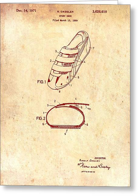 Straps Drawings Greeting Cards - Sport Shoe Patent 1971 Greeting Card by Mountain Dreams