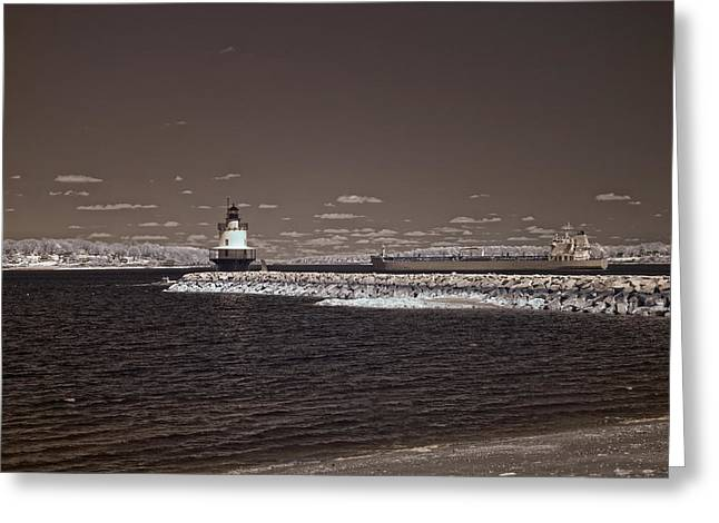 Old Maine Houses Greeting Cards - Spring Point Ledge Light Greeting Card by Joann Vitali