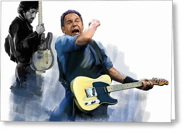 Bruce Springsteen Art Prints Greeting Cards - Springsteen Bruce Springsteen Greeting Card by Iconic Images Art Gallery David Pucciarelli