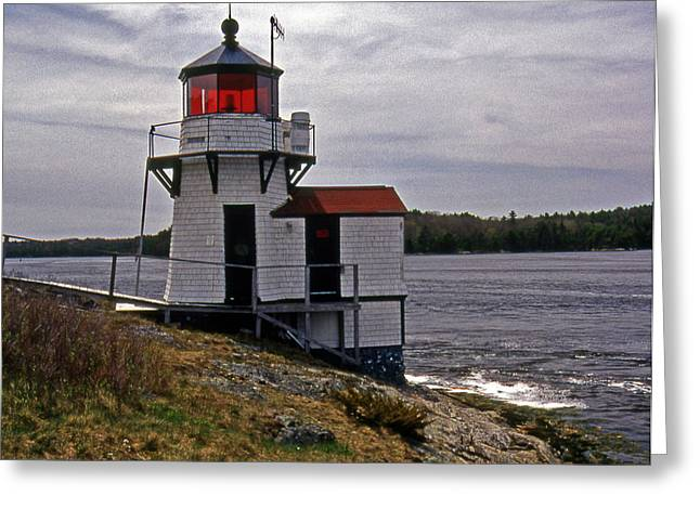 Maine Lighthouses Greeting Cards - Squirrel Point Lighthouse Greeting Card by Skip Willits