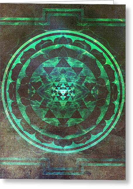 Nucleus Greeting Cards - Sri Yantra Greeting Card by Filippo B