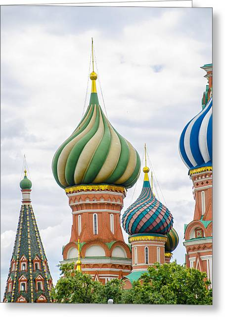 St John The Russian Photographs Greeting Cards - St Basils - Red Square - Moscow Russia Greeting Card by Jon Berghoff