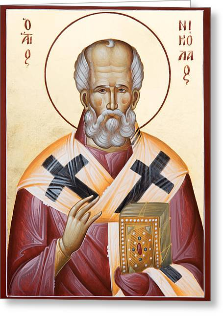 St Nicholas Icon Greeting Cards - St Nicholas of Myra Greeting Card by Julia Bridget Hayes