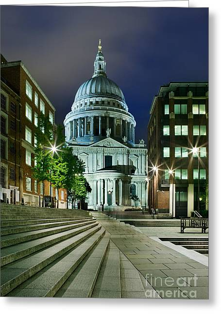 Domes Greeting Cards - St Pauls London Greeting Card by Rod McLean