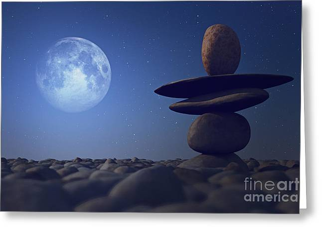 Close Focus Nature Scene Greeting Cards - Stacked Stones In Moonlight Greeting Card by Aleksey Tugolukov