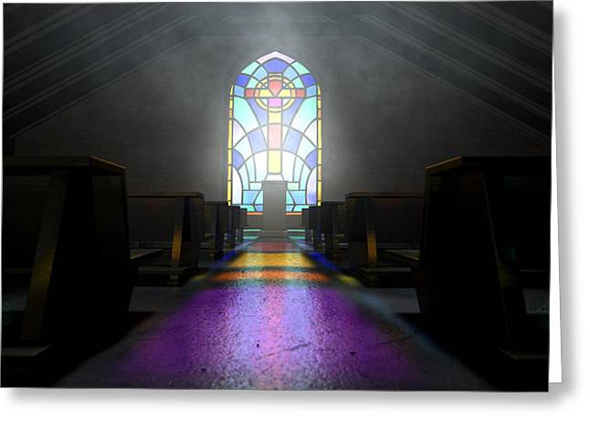 Radiates Greeting Cards - Stained Glass Window Church Greeting Card by Allan Swart