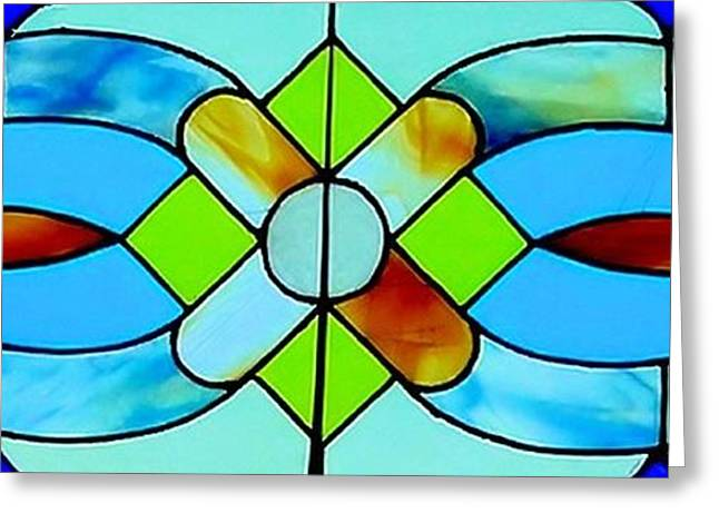 Print Glass Greeting Cards - Stained Glass Window Greeting Card by Janette Boyd