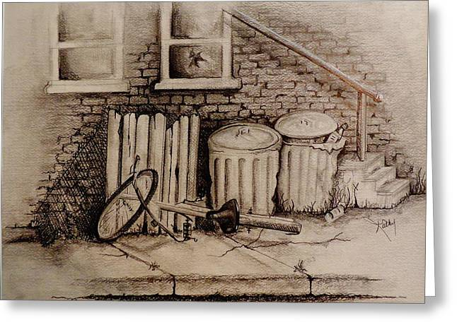 Everyday Drawings Greeting Cards - Stairway to Nowhere Greeting Card by Kathy Etoll-Throckmorton