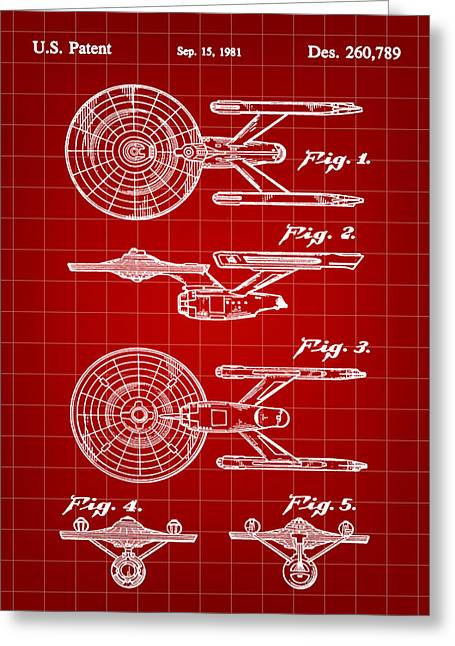 Enterprise Greeting Cards - Star Trek USS Enterprise Toy Patent 1981 - Red Greeting Card by Stephen Younts