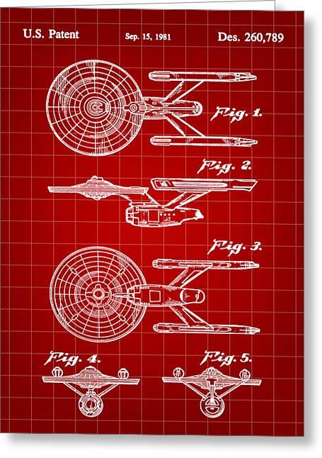 Enterprise Digital Art Greeting Cards - Star Trek USS Enterprise Toy Patent 1981 - Red Greeting Card by Stephen Younts