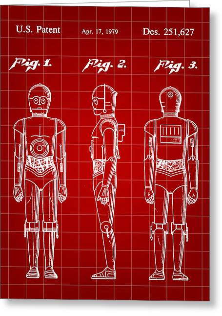 Galactic Empire Greeting Cards - Star Wars C-3PO Patent 1979 - Red Greeting Card by Stephen Younts