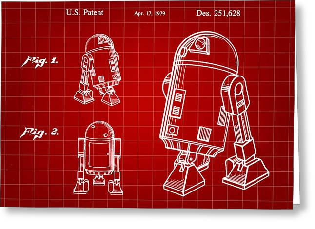 Galactic Empire Greeting Cards - Star Wars R2-D2 Patent 1979 - Red Greeting Card by Stephen Younts