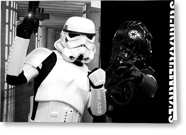 Blaster Greeting Cards - Star Wars Stormtrooper Greeting Card by Toppart Sweden