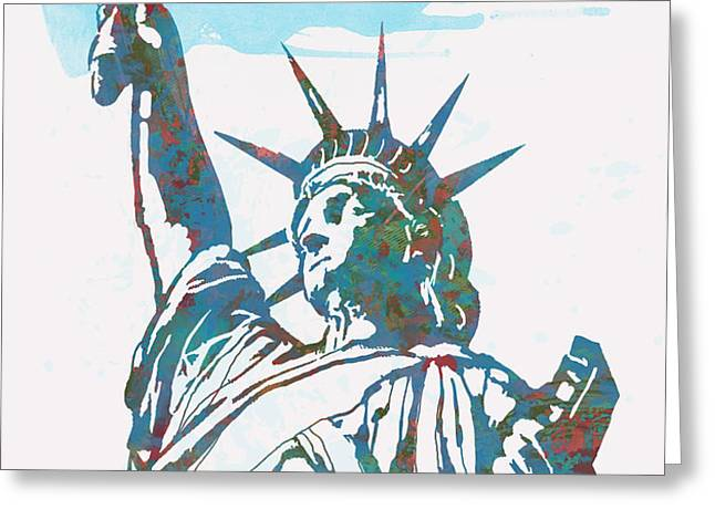Statue Liberty - pop stylised art poster Greeting Card by Kim Wang