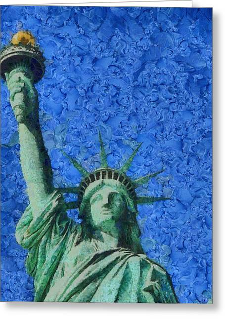 Statue Of Liberty Mixed Media Greeting Cards - Statue Of Liberty Greeting Card by Dan Sproul