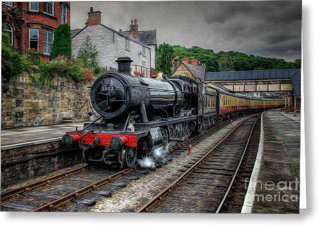2-8-0 Greeting Cards - Steam Train Greeting Card by Adrian Evans
