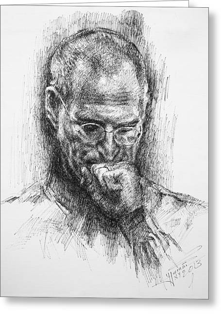 Co-founder Greeting Cards - Steve Jobs Greeting Card by Ylli Haruni