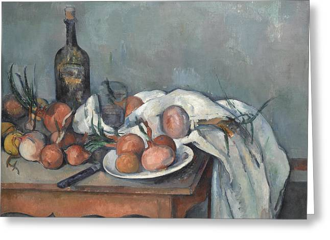 Vase With Figures Greeting Cards - Still Life with Onions Greeting Card by Paul Cezanne