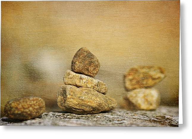 Therapy Greeting Cards - Stones on canvas Greeting Card by Toppart Sweden