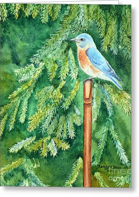 Songbird Greeting Cards - Stopping For A Rest Greeting Card by Kathryn Duncan