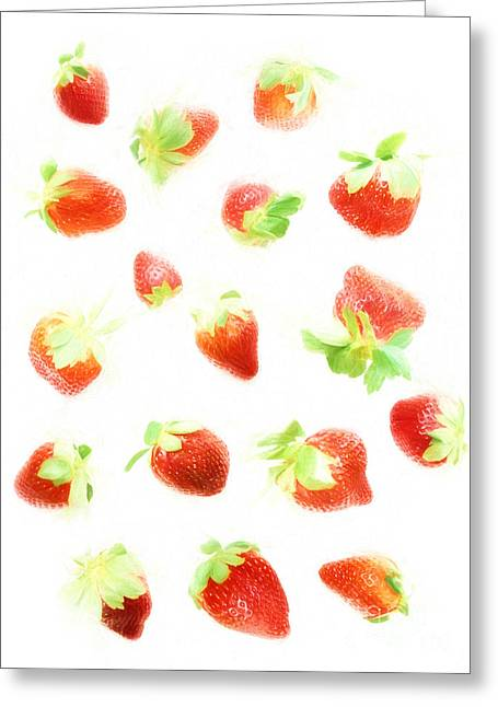 White Background Digital Greeting Cards - Strawberries Greeting Card by HD Connelly
