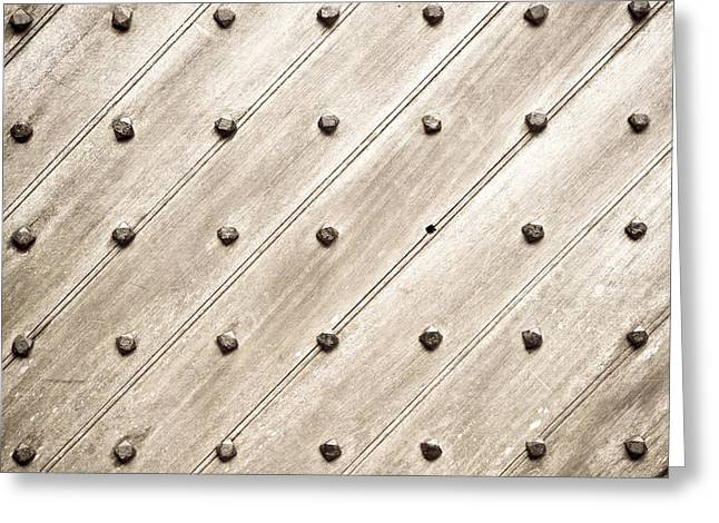 Nail Design Greeting Cards - Studded wooden surface Greeting Card by Tom Gowanlock