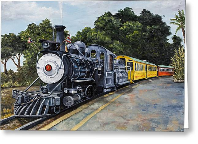 Number 3 Greeting Cards - Sugar Cane Train Greeting Card by Darice Machel McGuire