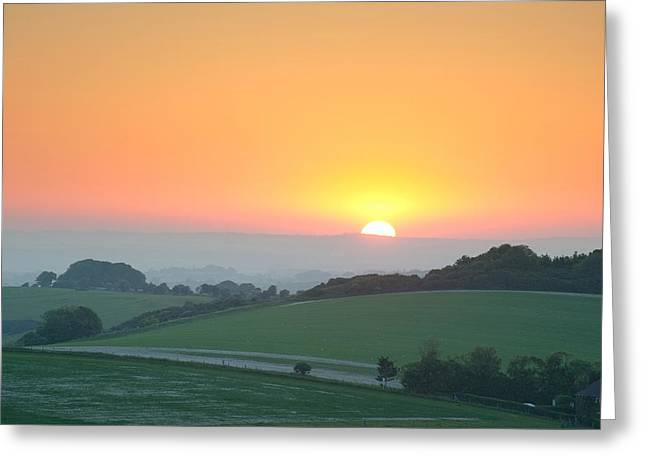 Field. Cloud Greeting Cards - Summer sunrise over English countryside rural landscape Greeting Card by Matthew Gibson
