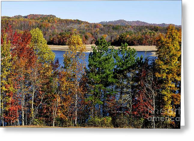Nicholas County Greeting Cards - Summersville Lake Autumn Greeting Card by Thomas R Fletcher