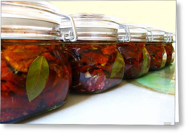 Oil Bucket Greeting Cards - Sun Dried Tomatoes in Olive Oil Greeting Card by Alexandros Daskalakis
