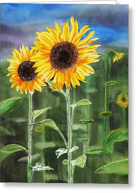 Yellow Sunflower Greeting Cards - Sunflowers Greeting Card by Irina Sztukowski