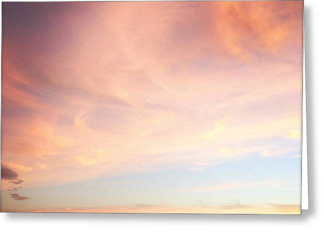Pink Clouds Greeting Cards - Sunset Greeting Card by Les Cunliffe