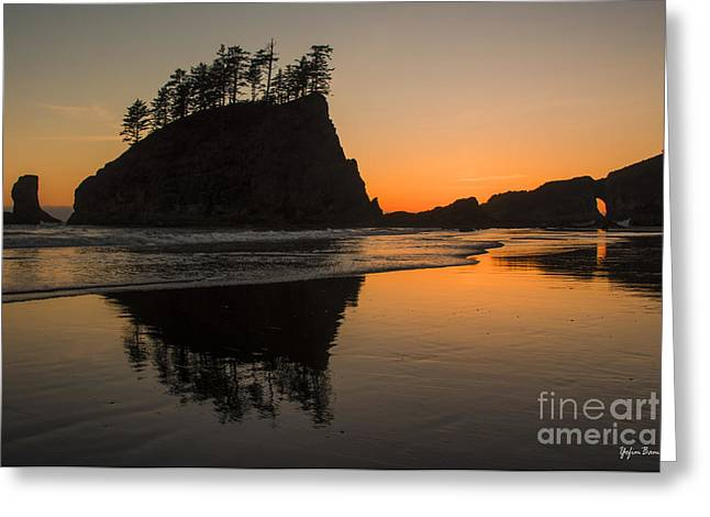 Cliffs Over Ocean Greeting Cards - Sunset over Second Beach Greeting Card by Yefim Bam