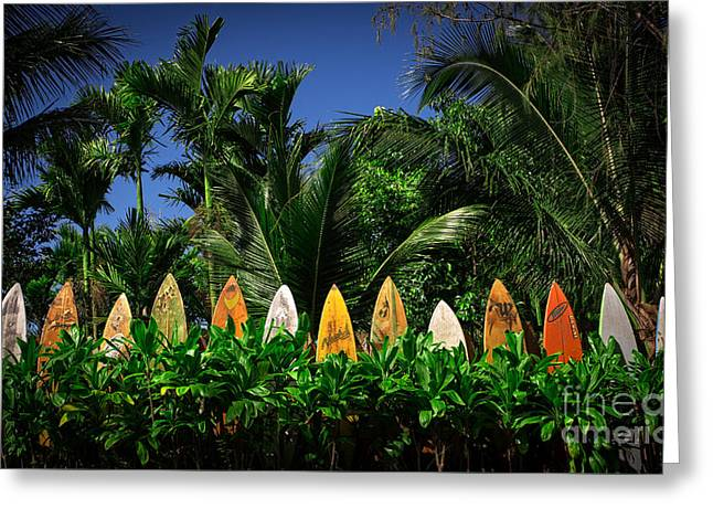 Surf Board Fence Maui Hawaii Greeting Card by Edward Fielding
