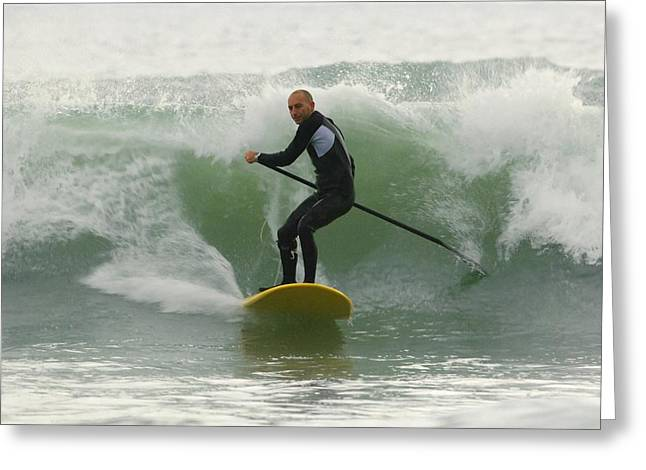 Steering Greeting Cards - Surfer Catching A Wave Greeting Card by Ben Welsh