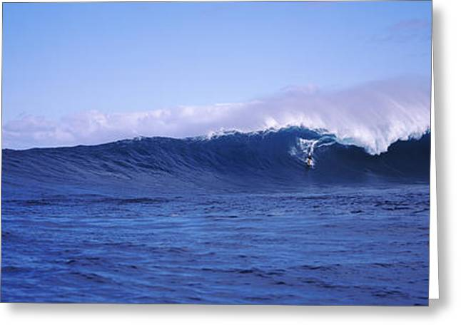 Strength Photographs Greeting Cards - Surfer In The Sea, Maui, Hawaii, Usa Greeting Card by Panoramic Images