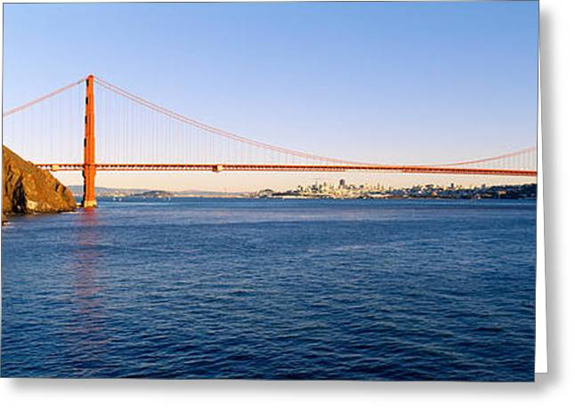 San Francisco Bay Greeting Cards - Suspension Bridge Across The Sea Greeting Card by Panoramic Images