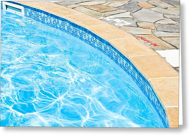 Wet Floor Greeting Cards - Swimming pool Greeting Card by Tom Gowanlock