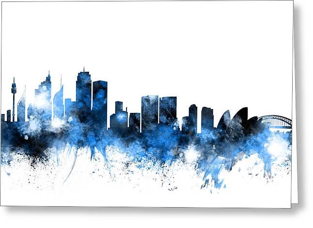 Sydney Australia Skyline Greeting Card by Michael Tompsett