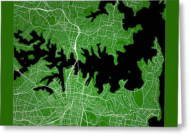 City Art Greeting Cards - Sydney Street Map - Sydney Australia Road Map Art on Color Greeting Card by Jurq Studio