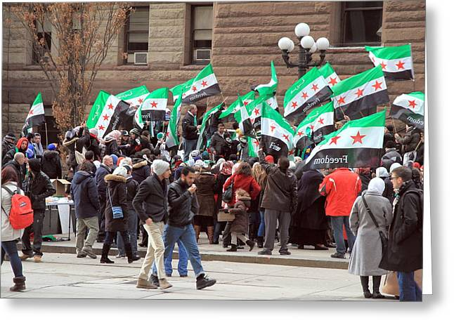 Political Rally Greeting Cards - Syrian Demonstrators Greeting Card by Valentino Visentini