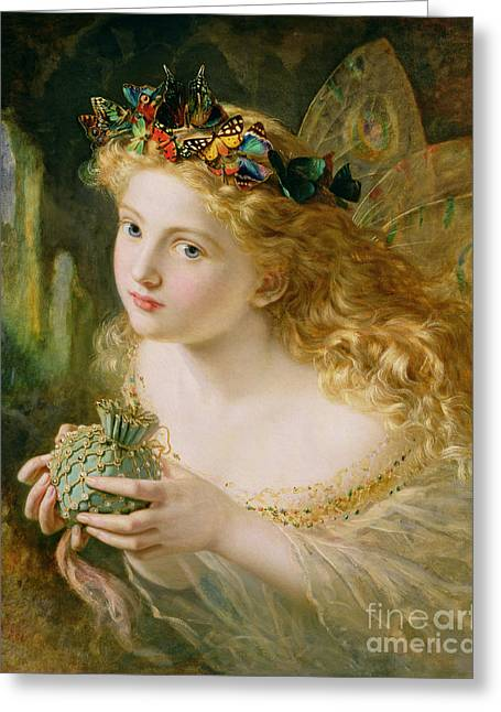 Female Faces Greeting Cards - Take the Fair Face of Woman Greeting Card by Sophie Anderson
