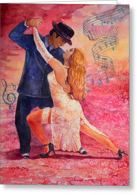Romantico Greeting Cards - Tango Greeting Card by Estela Robles