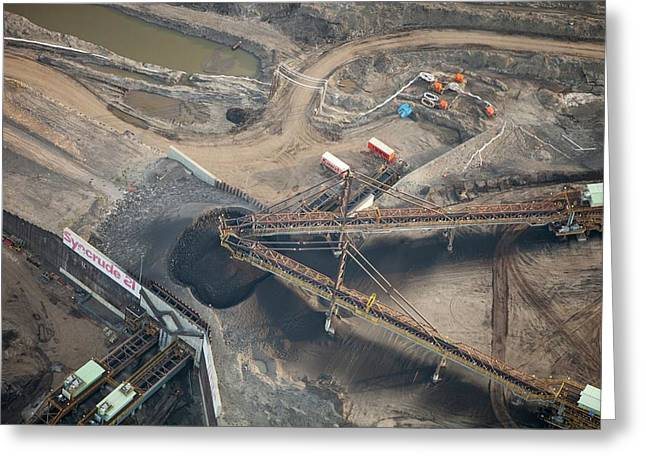 Tar Sands Deposits Being Mined Greeting Card by Ashley Cooper