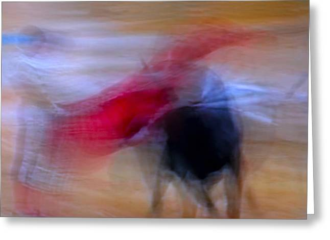 Tauromaquia Abstract bull-fights in Spain Greeting Card by Guido Montanes Castillo