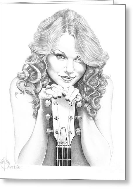 Pencil Drawing Greeting Cards - Taylor Swift Greeting Card by Murphy Elliott