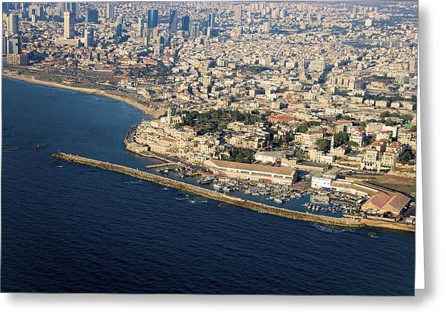 Ofir Ben Tov Greeting Cards - Tel Aviv Shore Line And Jaffa Port, Tel Greeting Card by Ofir Ben Tov