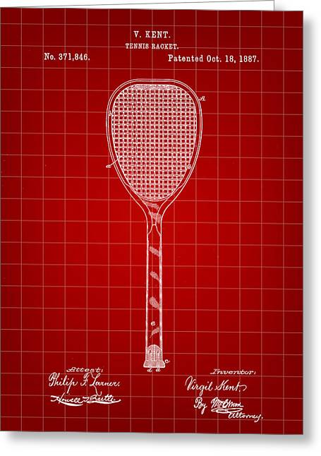 Navratilova Greeting Cards - Tennis Racket Patent 1887 - Red Greeting Card by Stephen Younts